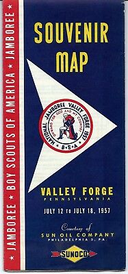1957 Boy Scout Jamboree -Valley Forge,PA Souvenir Map courtesy of Sun Oil Co