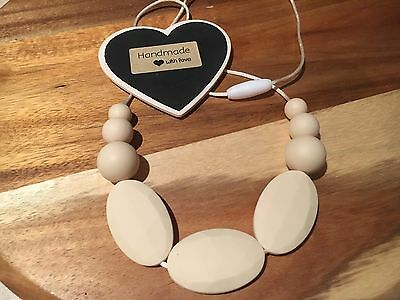 Silicone Sensory (was teething) Necklace Beads Jewellery Aus Gift Mum Cream