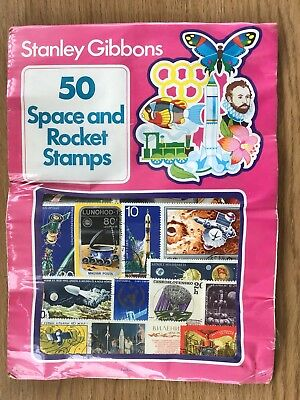 A BNWOT Vintage Stanley Gibbons Pack of 50 Space and Rocket Stamps