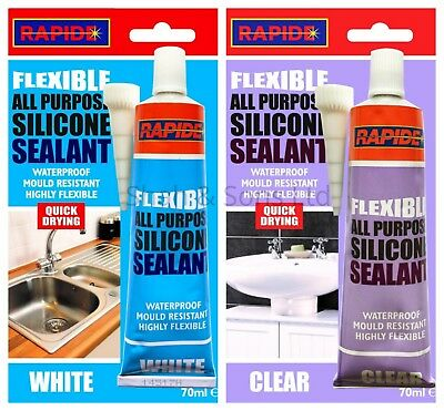 Flexible All Purpose Silicone Sealant Waterproof Quick Dry White or Clear 70ml
