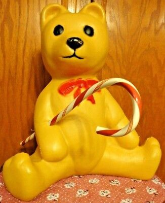 "17"" Union Bear Candy Cane Christmas Blow Mold Light Up Yard Decor Lawn Art Vtg"