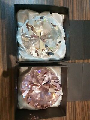NEW Rosenthal Crystal Diamond Shape Paperweight / Ornament x 2 (Pink & White)
