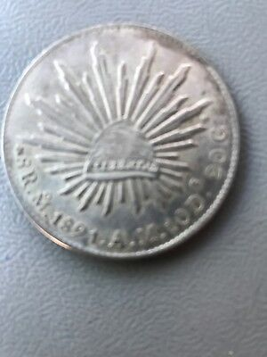Uncertified 1891 8 Reales Silver Coin.!  Republica Mexicana. ! NR.!!