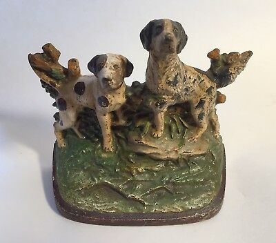 Antique Painted Cast Iron Hubley 281 Pair of Hunting Dogs in Landscape Doorstop