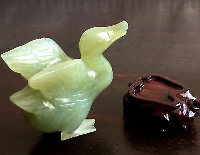 Antique Chinese Hand Carved Old Jade Duck Bird w. Matching Wood Holder