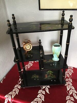 Gorgeous Vintage Japanese Lacquered Curio Shelves-Hand painted #3945
