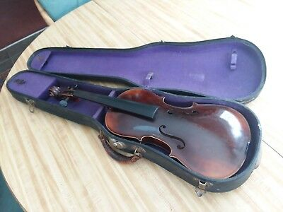 c.1920's VTG OLE BULL GERMAN ANTIQUE 4/4 VIOLIN & CASE FROM ESTATE AS FOUND OLD