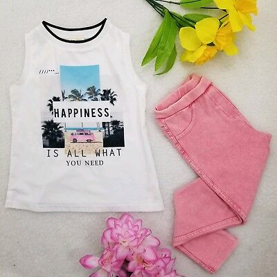ZARA GIRLS CASUAL COLLECTION *Outfit* White Print Tank Top & Pink Pants Size 4/5