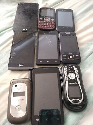Mixed Lot of 9 Cell Phones As Is  untested.