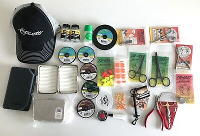 HUGE FLY FISHING GEAR LOT- Boxes Forceps Indicator RIO Loon Orvis Scott Hat Fish