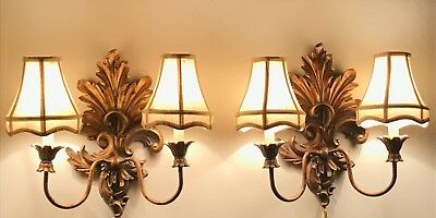CURREY & COMPANY®️Vintage Gold French Country Rococo Carved Wrought Iron Sconces