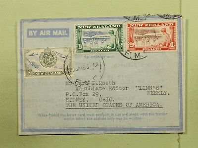 DR WHO 1949 NEW ZEALAND AUCKLAND AEROGRAMME TO USA  d85157