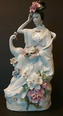 Beautiful Vintage Chinese Princess with Peacock Hand-Painted Figurine