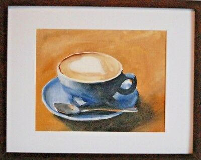 """Coffee"" by James Coates -Original Canvas-Board, Art -Signed Oil Panting"