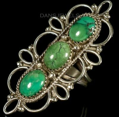 Vintage NAVAJO Old Pawn 3 Stone Green Turquoise Sterling Ring Size 7