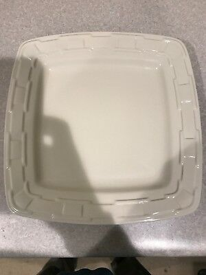 "Longaberger Pottery 11"" Square Woven Dinner Plate"