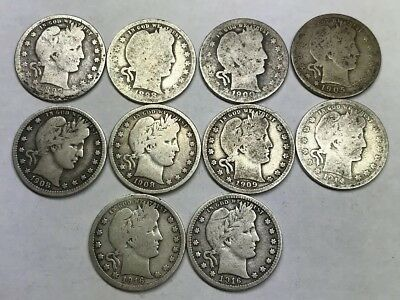 $2.50 Lot of Silver Barber Quarters Circulated 10 Coins Mixed Dates Mintmarks
