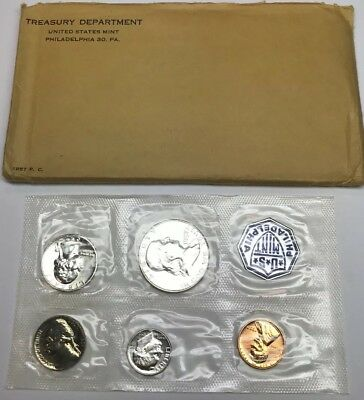 1957 United States Mint Five Coin Silver Proof Set Flat Pack Envelope
