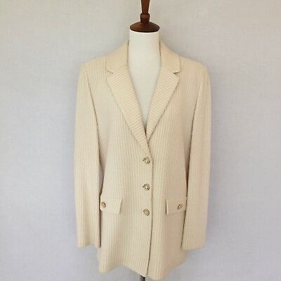 ST. JOHN Collection By Marie Gray Size 8 Ivory & Tan Knit 3 Button Jacket