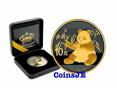 2017 1oz .999 Chinese Panda Silver Coin Ruthenium & Gold Gilded