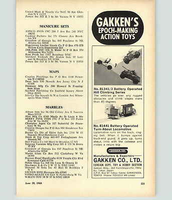 1968 PAPER AD Action Toys Gakken Battery Operated Marbles Vitro Agate Checkers