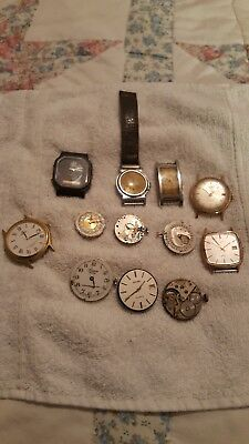Vintage job lot of old watches and movements