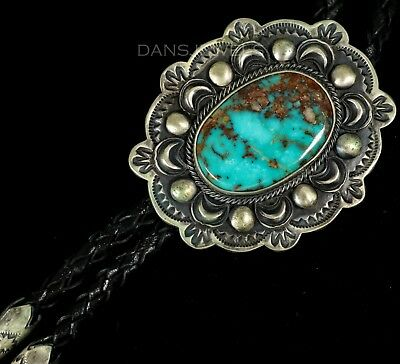 R H BOYD Old Pawn Vintage Navajo Natural Gem Grade TURQUOISE Sterling Bolo Tie