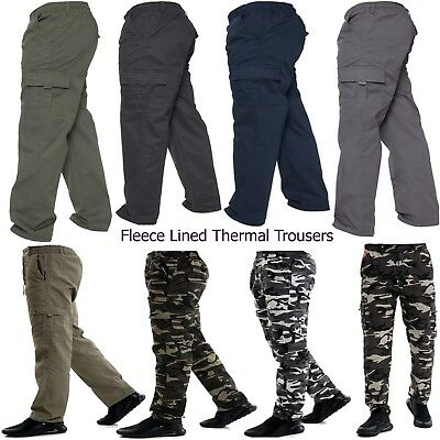 Mens Cargo Combat Fleece Lined Thermal Elasticated Winter Work Trousers Bottoms
