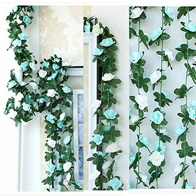 LumenTY - 2 guirnaldas con flores artificiales para decorar en (Blue and White)