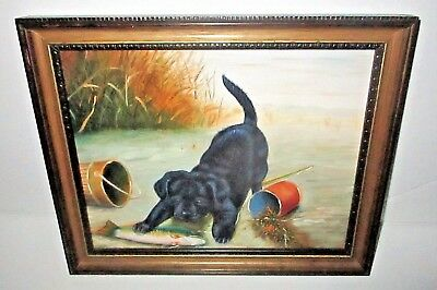 Vintage Black Lab Puppy Oil Painting Labrador and Fish Fishing Scene Outdoor Art