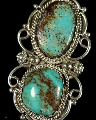 """Vintage NAVAJO Dead Pawn 2 Boulder Green Turquoise Sterling 2"""" Ring Size 7"""