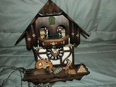 German Woodchopper Musical Cuckoo Clock With Dancers For Parts Or Repair