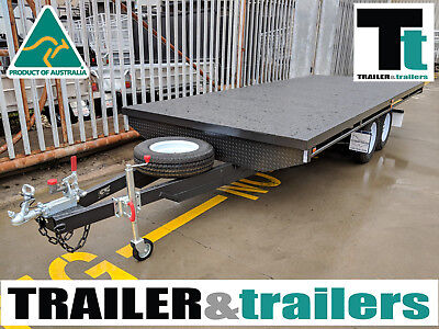 16X8 Tandem Axle Heavy Duty Flat Top/flatbed/table Top Trailer   New Wheels