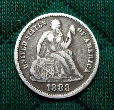 US 1888-S Liberty Seated Silver Dime  -  Fine Condition
