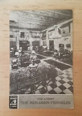1941 postmarked postcard, Lobby, The Benjamin Franklin Hotel, Philadelphia PA