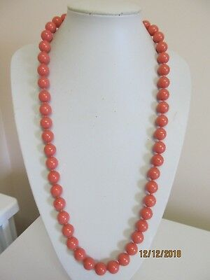 """Pretty Salmon Color 30"""" Knotted Bead Necklace"""