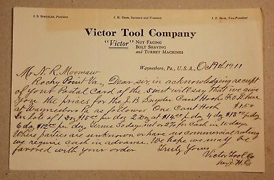 1911 Letter Victor Tool Company Waynesboro PA Customer Product Pricing