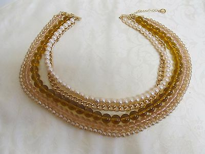 Designer  ML Statement 5 Strand Faux Pearl Glass Bead Necklace