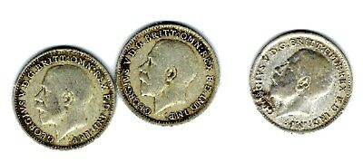 Great Britain - Three Pence, 1920, 1921, 1922 -  Silver, 3 Coins