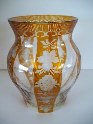 Vintage Czech/Bohemian Amber Yellow  Hand Cut To Clear Crystal Glass Vase