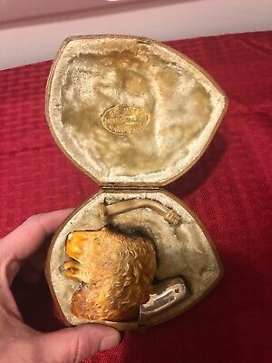Antique Vintage 1800's Meerschaum Pipe Perfect Beautiful Dog W/silver & Case