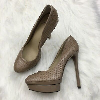 c6509bd566e BRIAN ATWOOD WOMENS 9 Nude Beige Snakeskin Leather Pumps Platform Heels  Stiletto