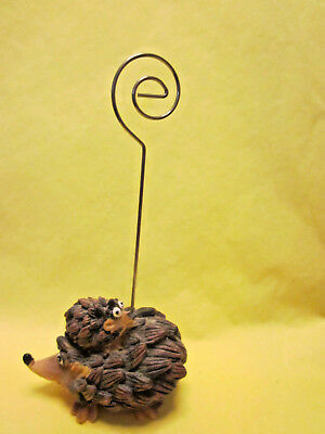 Hedgehog Mama Baby on back resin wire picture note holder