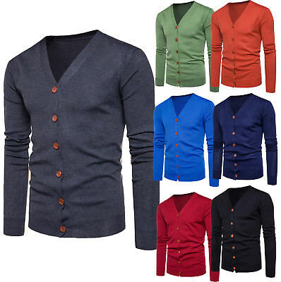 New Men Classic Button V Neck Plain Knitted Cardigan Knitted Cardigans Coat  Tops 3cc59a503