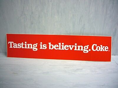 Coca Cola Bumper Sticker Tasting is Believing COKE Decal 13x3