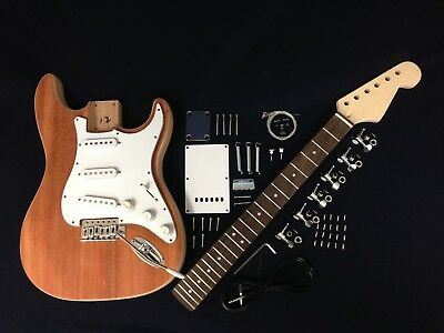 E200S ST Style,Solid Mahogany Body Electric Guitar DIY Kit,Complete No-Soldering