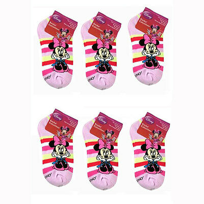 6 PAIR Disney Minnie Mouse Ankle Socks Size 6-8 Shoe 10.5-4 Girls Kids Pink NEW