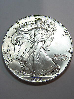 1986 SILVER EAGLE//Walking Liberty -- BU-- From original UNC Roll - Blast Whlite