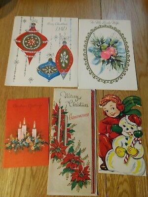 Vintage Christmas Card Unused lot of 5 cards ornaments, candles, snowman