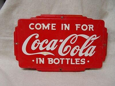 Vintage Come In For Coca-Cola In Bottles Tin Advertising Door Push Coke Sign